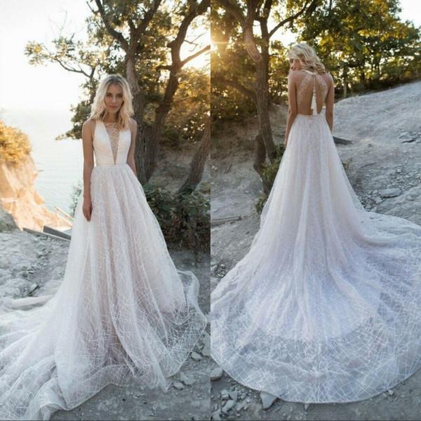 Luxury Beading Wedding Dresses Beach Sheer V Neck Open Back Sequined Sweep Train Wedding Dress Bridal Gowns