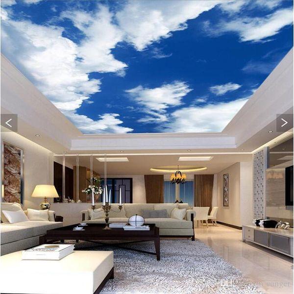 Al por mayor- 3d papel tapiz mural decoración Foto telón de fondo Cielo azul nubes blancas techo sala de estar Restaurante techo pared pintura panel mural