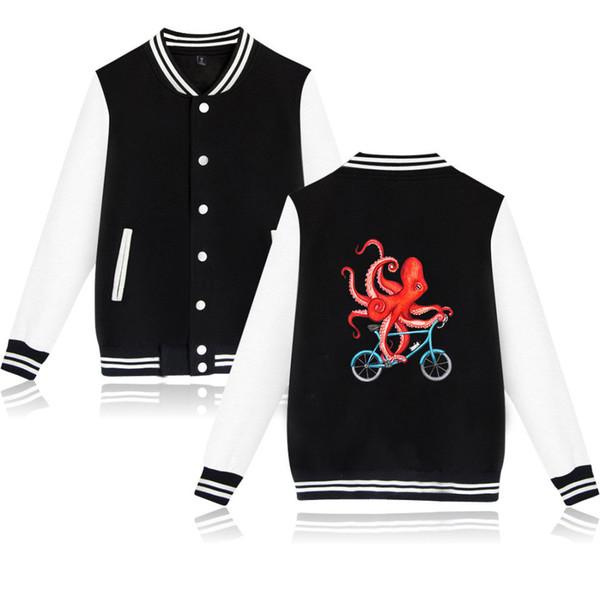 Топ хлопок мужская куртка печати новые ближайшие осьминог повседневная пальто одежда мода Бейсбол равномерное