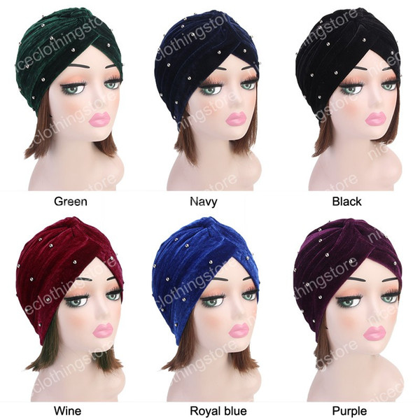 Nuove perle di moda Perline Turbante di velluto Donne Bonnet Berretto per capelli Musulmano Turbante Party Hijab Headwear Accessori per capelli