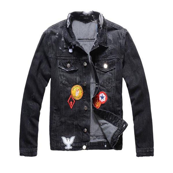 Man Cowboy Jacket Black Leisure Time Tide Card Printing Teenagers Slim Cowboy Jacket Loose Coat Male