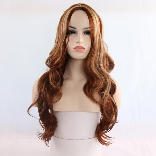 Hot selling fashion women long hair wig 26 inch brown ombre color kinky straight wigs 100% synthetic hair with weaving cap free shipping