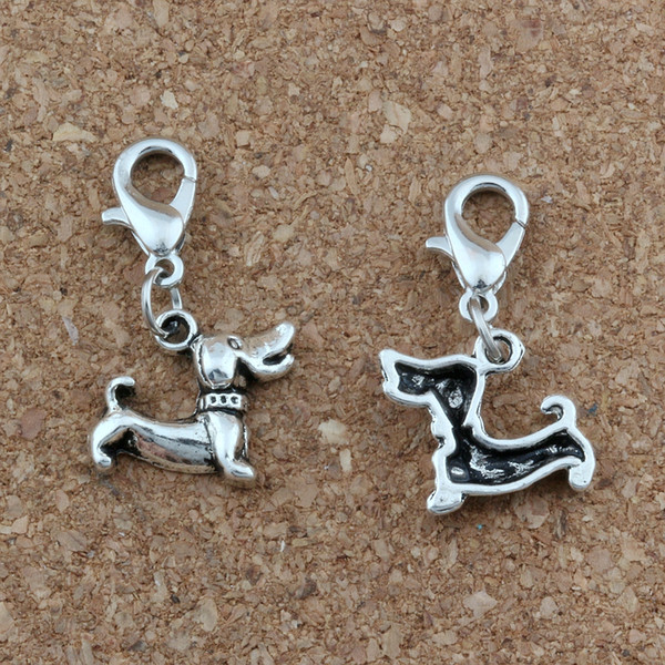 100pcs/lots Antique Silver Dachshund Dog Floating Lobster Clasps Charm Beads Fit Charm Bracelet DIY Jewelry 12.5x28mm A-438b