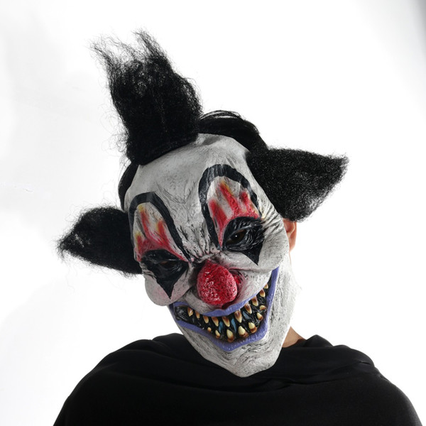 Scary Half Face Clown Mask /& Hair Halloween Fancy Dress Costume Prop