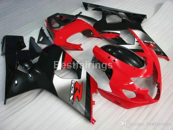 SUZUKI GSXR600 GSXR750 2004 2005 için en yüksek oranlı kaporta kiti siyah kırmızı gümüş GSXR 600 750 K4 K5 marangozluk GH73