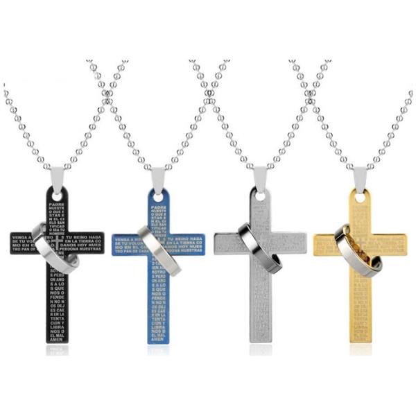 Крест ожерелье мужчины Красиво ювелирные изделия из нержавеющей стали титана ювелирные изделия Иисус библия кольцо кулон мужские ожерелья