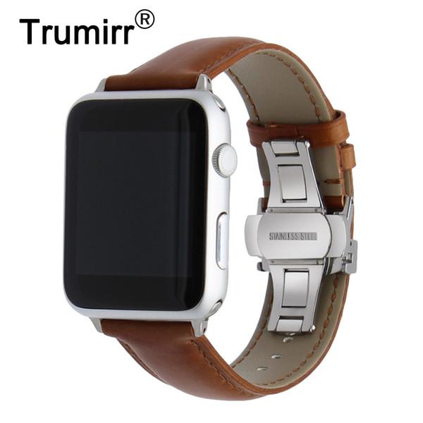Italian Genuine Leather Watchband Crazy Horse Strap Apple Watch 38mm 42mm Steel Butterfly Buckle Band Wrist Bracelet