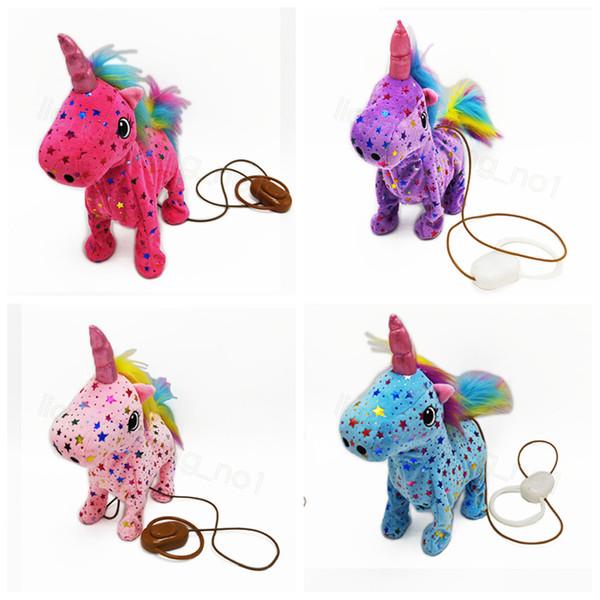 Unicorn Peluş Oyuncak Doldurulmuş Hayvan Oyuncak Elektronik Müzik Çocuk Noel Doğum Çocuk Oyuncak 23 * 8 * 3CM FFA3304 Walking Payet yıldızı Elektrik