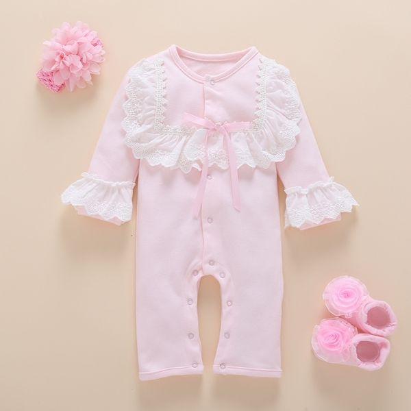 Fotografia di vestiti della ragazza del neonato impostare autunno carino cotone manica lunga fiore pagliaccetto bambini ragazze vestiti Boutique 0-3 mesi MX190912