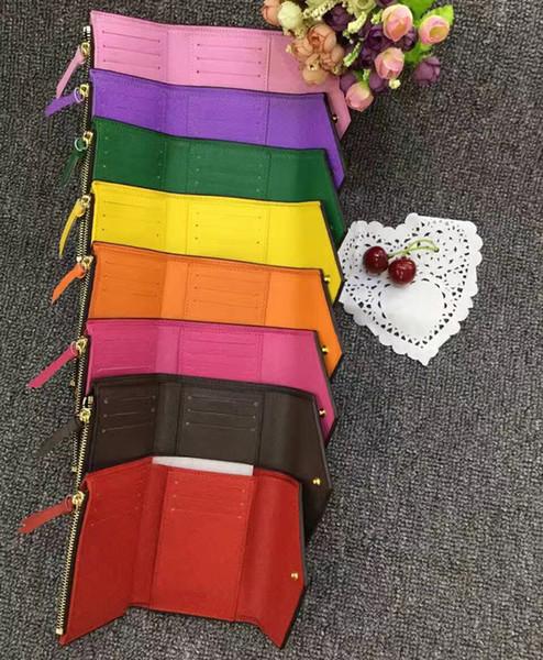 41938 Comercio al por mayor original caja de lujo de cuero real multicolor código de fecha cartera corta Titular de la tarjeta mujeres hombre clásico con cremallera bolsillo Victorine