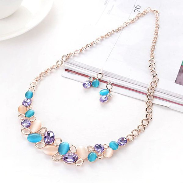 Fashion Colorful Crystal Opal Necklace Earrings Set Woman's Wedding Party Choker Natural Opal Stone Bead Jewelry Gift New
