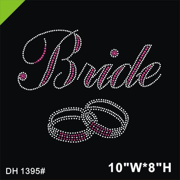 Free shipping Bride Rings Strass Motif Hotfix Rhinestone Design DIY DH1395#