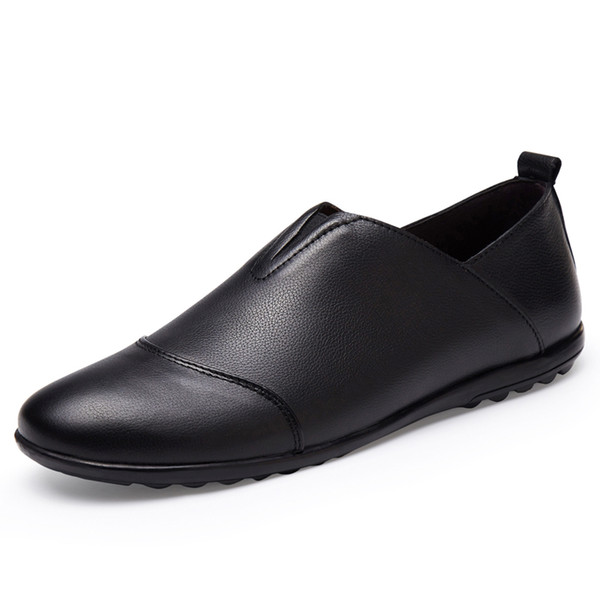 Driving Shoes Men Handmade Genuine Leather Moccasin Black Shoes Casual High Quality Leather Loafers Men 2019 Big Size 46