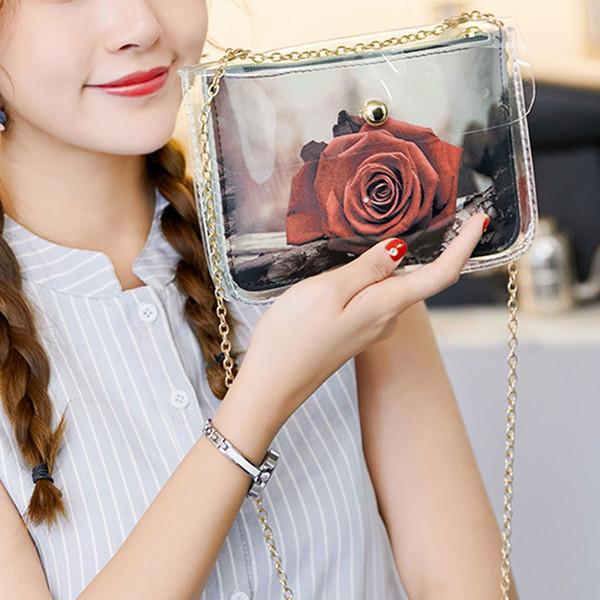 Fleur Imprimer Femmes chaîne en cuir Messenger Bag Mini portable portable Pochette bandoulière Porte-Monnaie Portefeuille fille petit sac à main Sac à bandoulière