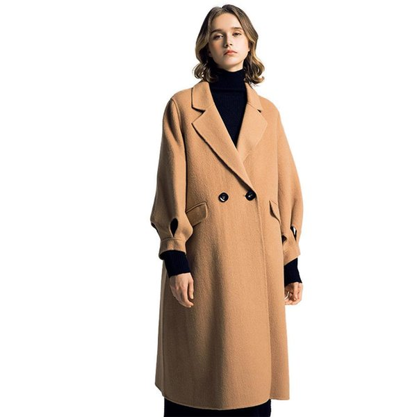Hollow Out Green Button Coat Women Long Wool Vintage Korean Coats Female Casaco Jas European Fashion Designer Clothes 18a60186