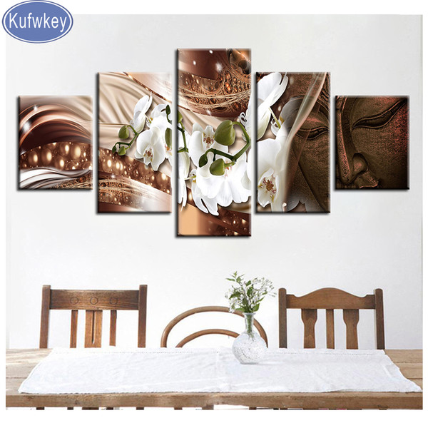 """diamond Embroidery 5pcs/set """"orchid Flower buddha""""Full Square/Round Drill 5D DIY Diamond Painting Multi-picture Combination"""
