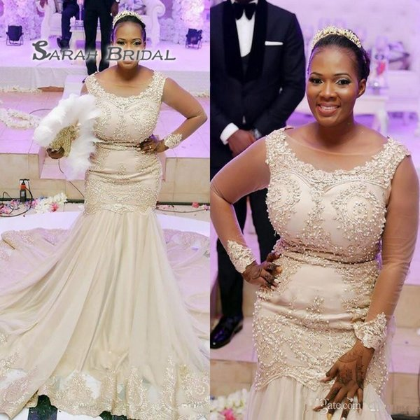 best selling African Plus Size Wedding Dresses Without Cape Lace Appliques Sheer Neck Beads Mermaid Wedding Dress Lace Up Back Long Sleeves Bridal Gowns