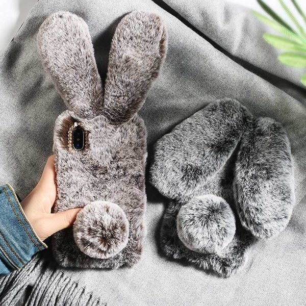 Plush Warm Phone Case For Iphone Xs Max Xr X Case 3d Rabbit Ears Furry Fluffy Fur Case For Iphone 6 6s 7 8 Plus Cases