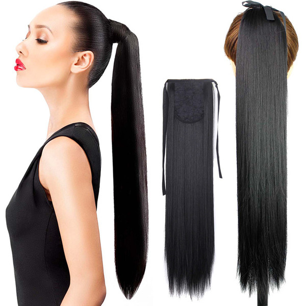Strap ponytail hairpiece ponytail European and American cross-border hair straight hair manufacturers stock