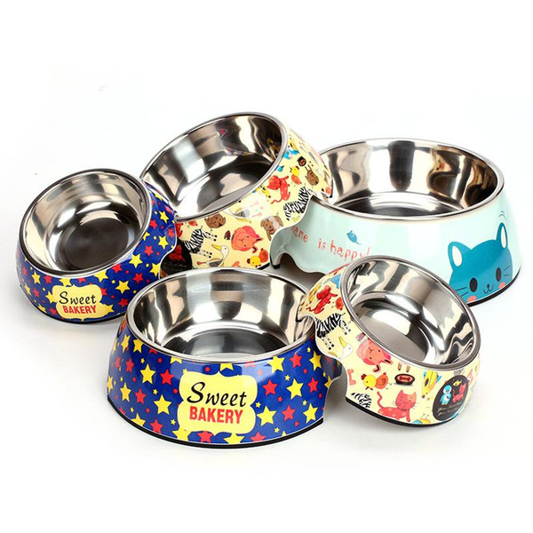 2 in 1 Cartoon Stainless Steel Bowls Dog Cats Feed Drink Bowl Pet Tableware Supplies Drop Shi 360025