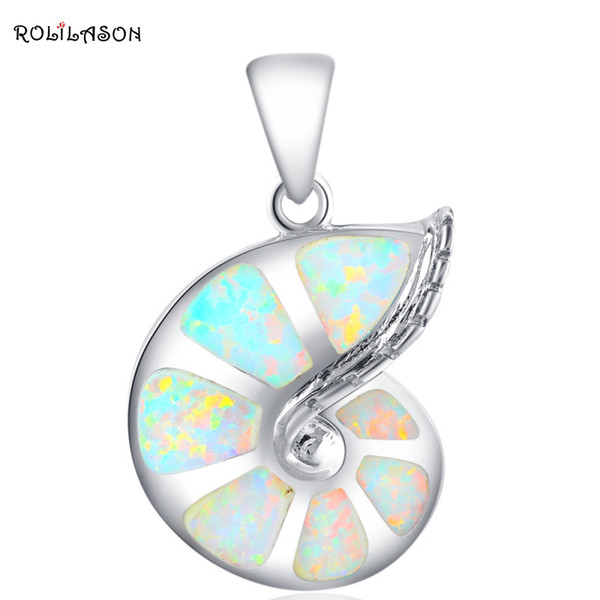 f pendant Conch design New White Fire Opal necklace Pendants for women gift Silver Stamped 925 Fashion jewelry OP416