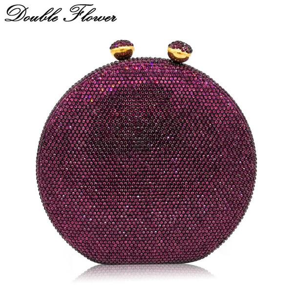 Double Flower Kiss Clasp Round Circular Women Purple Crystal Clutch Evening Handbags Hard Case Wedding Cocktail Diamond Bag