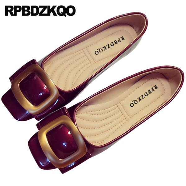 Ayakkabı balerin kadınlar 10 kırmızı şarap üzerinde kayma kare ayak dayanıklı katlanabilir bale daireler patent deri moda metal büyük boy