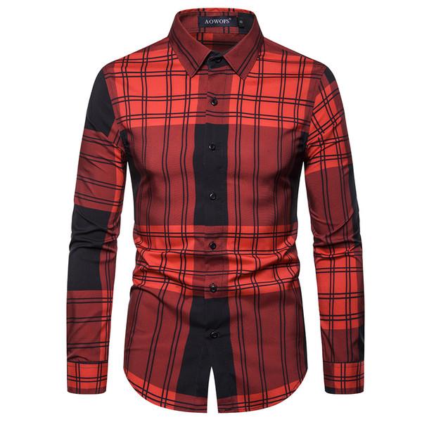 Tops manga larga 2019 camisas moda otoño casual camisa de visita roja de la tela escocesa camisa de los hombres