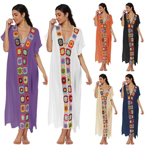 Vestido de playa de verano Boho Mujeres Vestidos largos sueltos Falda ocasional Crochet Patchwork Cuello en V Manga corta Vestido de una pieza Bikini Cover Up C3213