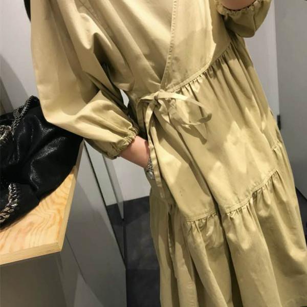 Лето 2019 года домашнее желтое платье для кукол в стиле cos, платье для похудения с завышенной талией и рукавами средней длины