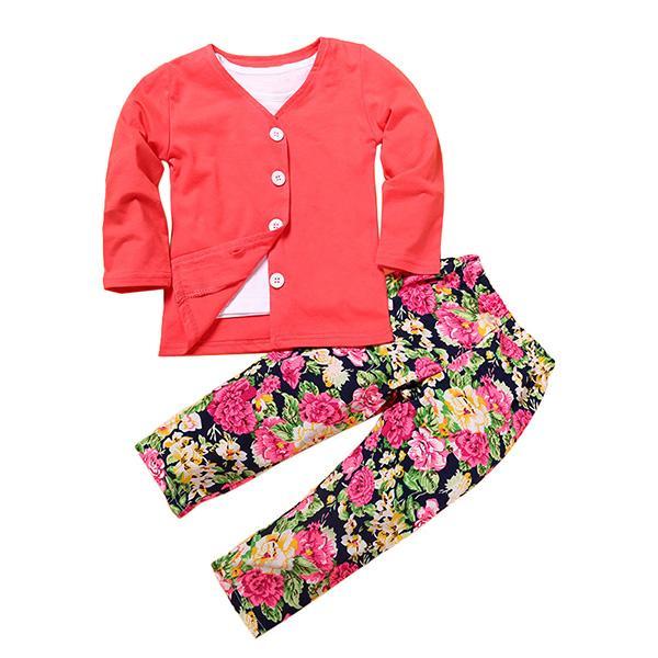 Детская одежда Одежда для девочек Набор Детские Детская футболка с длинным рукавом + Пальто с длинным рукавом + Красная роза с цветочным принтом Брюки 3шт / комплект