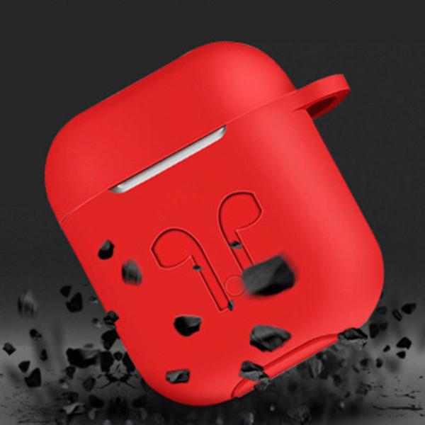 Per AirPods Custodia antiurto protettiva con custodia in silicone con cinturino anti-perso per auricolare per iPhone 7 Bluetooth