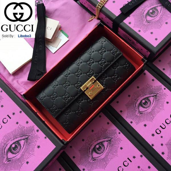 borsa catena nera pelle goffrata libobo3 serie Lucchetto 453506 Donne Portafoglio catena Borse Portafogli borsa Frizioni chiave Evening Mini Belt