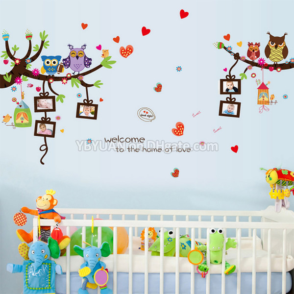 Cartoon Animals Children Wall Stickers Cute Owls Birds Tree Lovely Heart with 5 Photo Frame Decals For Baby Birthday Kids Room Decoration