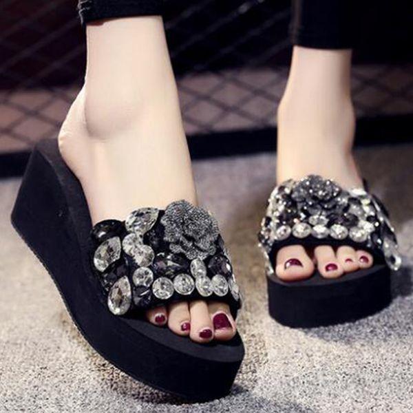 new fashion flowers crystal platform women slippers lady rhinestone wedges high heels sandals vacation beach shoes sh75