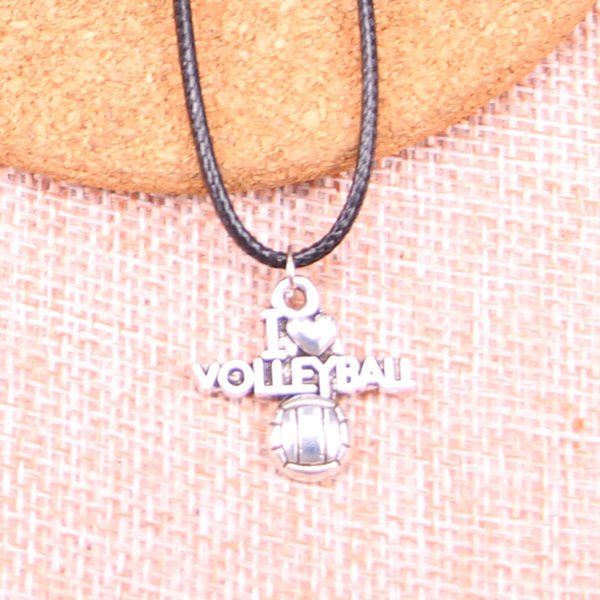 New Durable Black Faux Leather Antique Silver 21*20mm i love volleyball Pendant Leather Chain Necklace Vintage Jewelry Dropshipping