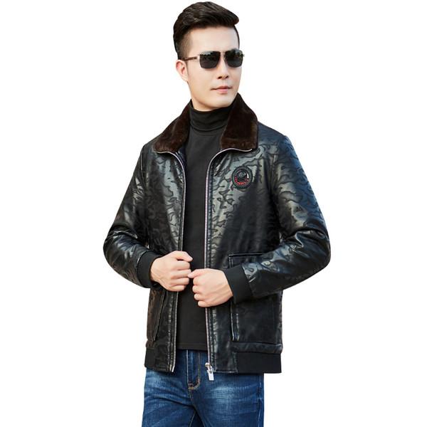 Thick Duck Down Men Winter Jackets Leather Leopard print Fur collar Mens Down Coat black Mens Parkas Outerwear