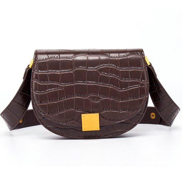 new Luxury Alligator Leather Saddle Bag Women Shoulder Bags Small Round Handbag Designer Crossbody Bags
