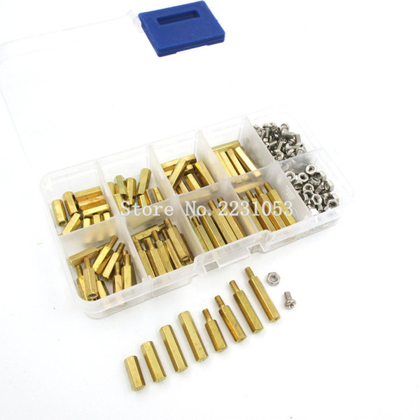 top popular Cheap Screws 200PCS Kit 3 Male Female Brass Standoff Spacer PCB Board Hex Screws Nut Assortment Set Kit With Plastic Box M3*12mm - M3*20mm 2021