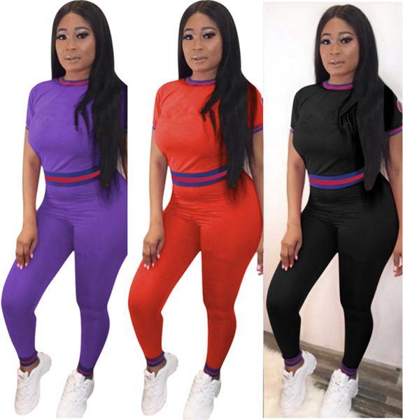 Marke Designer Frauen Jogginganzug Kurzarm 2-teiliges Set Trainingsanzug T-Shirt Leggings Outfits Sportswear Sport Pullover Crop Top Anzug 498