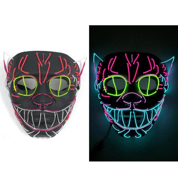 Хэллоуин украшения из светодиодов маска светящаяся кошка маска костюм анонимная маска для светящихся танцев карнавальные маски партии