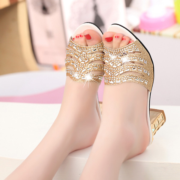 Genuine Leather High-heeled Rhinestone Sandals Spring Summer Flip Flops Women Crystal Sandals Sexy Open Toe Shoes Plus Size 41 Slippers