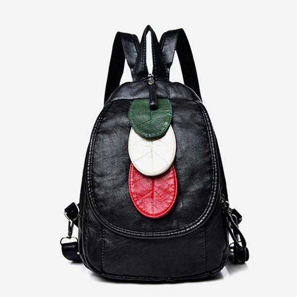Double shoulder bag woman Korean version 2019 new trendy fan you lady slanted bag water wash skin small backpack fashion dual