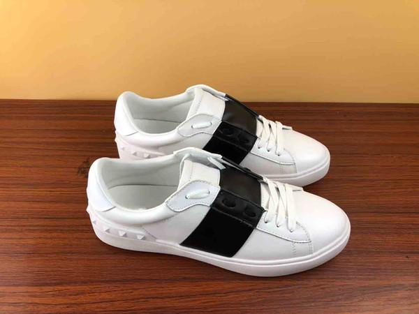 Mode Hommes Femmes Chaussures design blanc lacent véritable chaussures de sport de luxe ouvert en cuir du sport plat baskets design avec boîte pour saleZ07