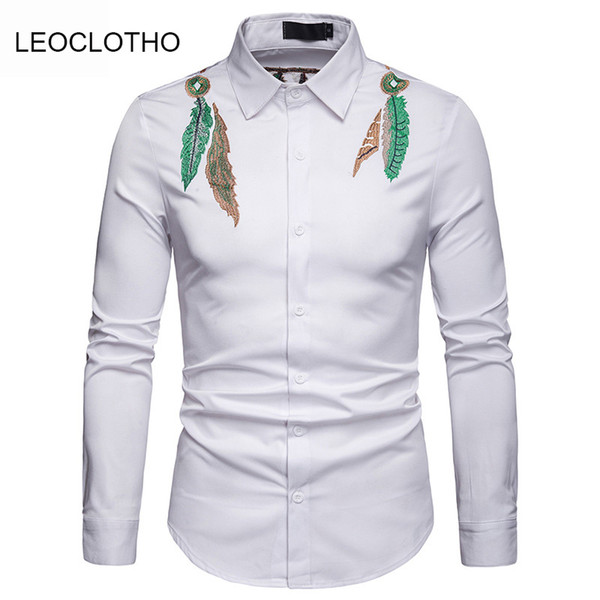 LEOCLOTHO 2019 White Social Mens Shirts Wedding Mens Slim Fit Long Sleeves Shirts Burgundy Camisa Masculina Casual Club Outfits