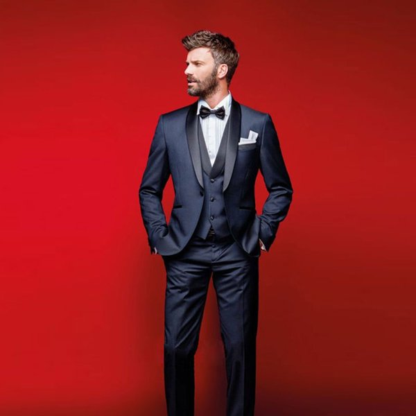 Best Selling Navy Blue Men Suits Shawl Lapel Wedding Suits For Men With Jacket Pants Vest Bow Tie Groom Tuxedos Three Pieces Blazers
