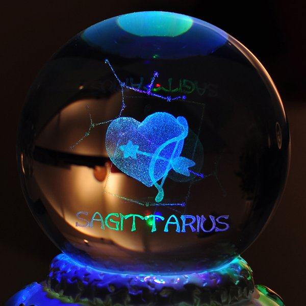 Creative 12 Constellation Luminous Crystal Ball Music Box Rotating Musical Boxes for Boy Girl Friend Birthday Day Gifts