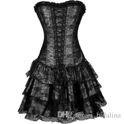 2017 Nuovo abito in acciaio disossato corsetto + G-string Bustier Top Sexy Lingerie Gothic Clubwear Spedizione gratuita 7 colori S M L XL XXL