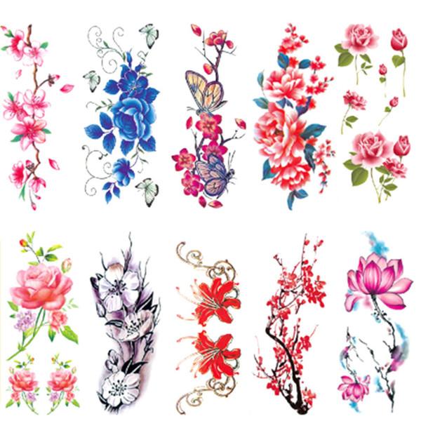 1 Ficha Sexy Mulheres Tatuagem Temporária Plum Blossom Rose Tattoo impermeável adesivos Body Art Flor etiqueta Nova