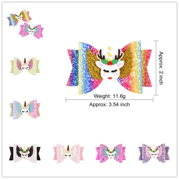 INS Baby Girls Unicorn Hairpin 16style Sequins Glitter Hair Clips Cute Elk Rainbow Cosplay Barrettes Gretel Kids Bow Hair Accessories A51704